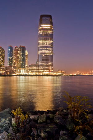 Night view of the Goldman Sachs building on the harbor front at Paulus Hook in, Jersey City, N.J.