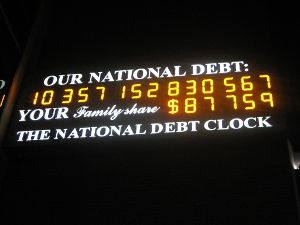 Photo of the U.S. national debt clock taken in November 2008.