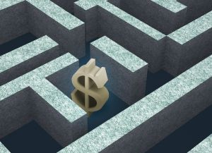 A dollar sign is trapped in a maze.