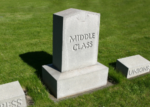 Grave stones with engraved Middle Class, Unions and Press.