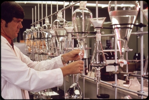 A scientist is testing water in a laboratory.