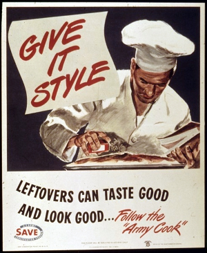 "A vintage sign depicting ""The Army Chef"" sprucing up some leftover food."