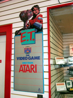 "Sign advertising the Atari 2600 game ""E.T.,"" which is generally considered to be the greatest video game flop of all time."