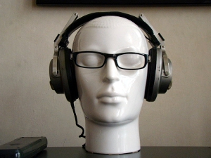 Headphones with glasses (head).