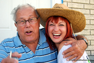 Homeowner Julius Wolfarth, 82, and a red-haired young woman.