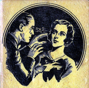 Vintage 1935 advertisement depicting a hypnotist and his subject.