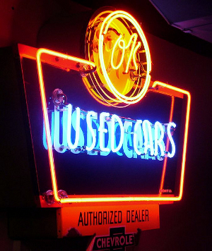 An OK Used Cars neon sign at the Route 66 Museum in Clinton, Oklahoma.